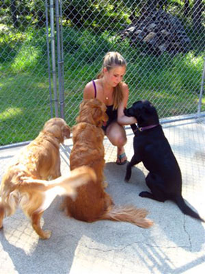Jen with Dogs in our Kennel